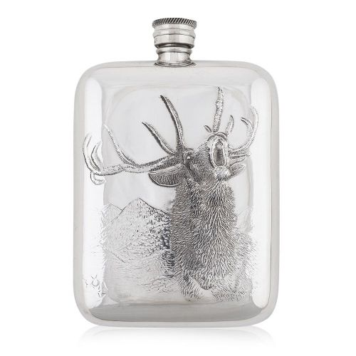 6OZ Luxury Hip Flask With Embossed Stag